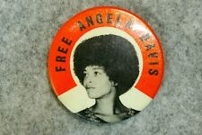 Vintage Original Free Angela Davis Button Pin Pinback 1970s #4