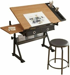 Adjustable Drafting Table Art Craft Drawing Board w/Stool Architects Desk Stand