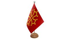 Midi-Pyrenées France table drapeau avec en bois socle