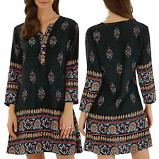 Vintage Womens V-neck Long Sleeve Boho Floral Short Mini Dress Beach Sun Dresses