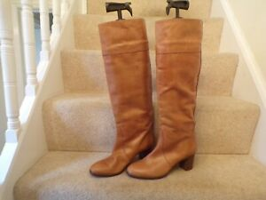 J Crew Ladies Brown Leather Knee Length Boots Size 8