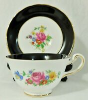 Royal Chelsea England Black & White Gold Floral Porcelain Tea Cup & Saucer Set
