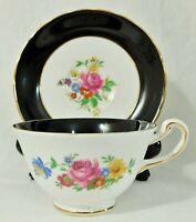 Royal Chelsea England Black & White Gold Floral Porcelain Tea Cup & Saucer Set