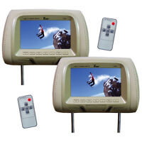 """NEW Tview 7"""" TFT/LCD Car Headrest with Monitor PairTan T726PLTAN"""