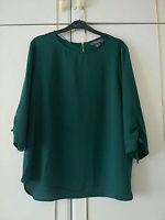 PRIMARK WOMENS DARK BOTTLE GREEN BLOUSE CHIFFON TOP 3/4 SLEEVE SIZE 14 CREW NECK