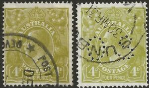 KGV    4d  OLIVE  SMALL MULTI WMK  P14   2 STAMPS INCL. OFFICIAL    SCARCE PAIR