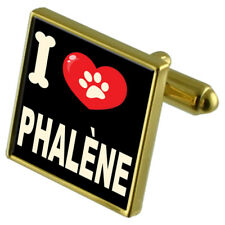 I Love My Dog Gold-Tone Cufflinks & Money Clip - Phalène