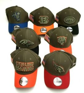 New Era 3930 NFL 2017 Salute to Service Flex Fit Hat Olive Various Teams/Sizes