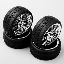 4PCS 1/10 RC On Road Racing Car Chrome Wheel & Rubber Tires Sponge 3MC
