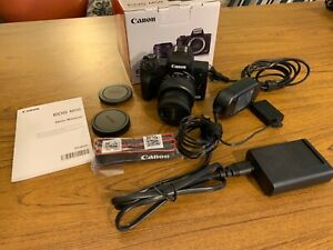 Canon EOS M50 Mirrorless Camera Kit- Black - Plus Power Adapter and More