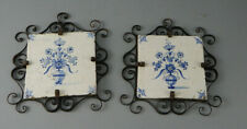 """Pr Antique Delft Tiles """"Flowers"""" in Early Wrought Iron Frames 17th C."""