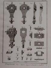 vintage print WOOD TURNING machine Sliding Bezel Bracket Benard Diderot? c1800