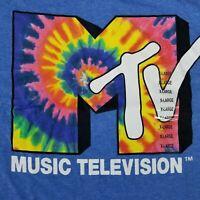 MTV Men's XL T-Shirt Music Television Tie Dye Print Licensed Logo Retro Vintage
