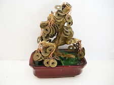 Feng Shui Lucky Chinese Oriental Japanese Bonsai I Chin Brass Coin Money Tree