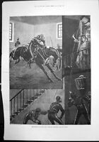 Original Old Antique Print Sketches Military Life New Subaltern Day Night 1890