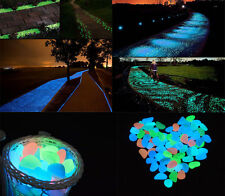 10Pcs Glow in the Dark Pebbles Stones Home Garden Aquarium Fish Tank Decor