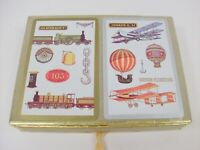 2 decks vintage Congress playing cards with case trains and planes