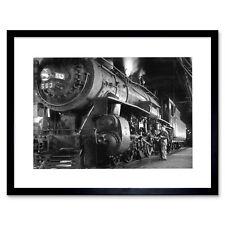 Photo 1955 Steam Train Winston Link Engine New Framed Art Print 12x16 Inch