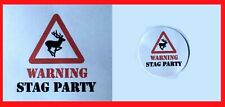 24 White 40mm RF17 Stag Do Warning Labels Stag Night Party Stickers