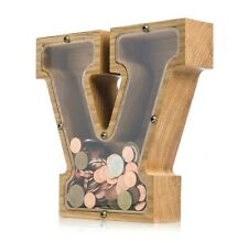 V LETTER Wood piggy bank Montessori baby toy Coin bank for kids adults Tip jar