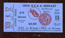 March 13 1976 NCAA Basketball Mid East 1st Round Game Ticket Stub EXMT