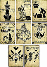 Vintage images Halloween witches pumpkin cat cards set of 8 with envelopes