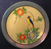 """Nippon Japan Saucer 5 1/2"""" Blue & Red Flowers, Yellow Breasted Bird"""