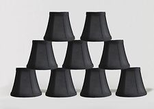 "Urbanest Chandelier Mini Lamp Shades,5"",Bell Silk,Black w/ Double Trim,Set of 9"