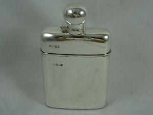 SUPERB, sterling silver & glass HIP FLASK, 1911, 486gm