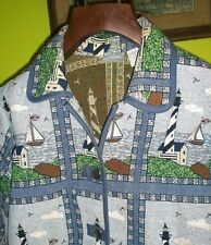 Womens Tapestry Lighthouse Jacket Coat Beach Sailboat Blair Size Large Cotton