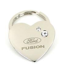 Ford Fusion Heart Shape Keychain W/2 Swarovski Crystals