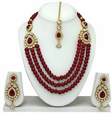 Maroon Indian Bollywood Fashion New Royal Wedding Gold Tone Necklace Jewelry Set