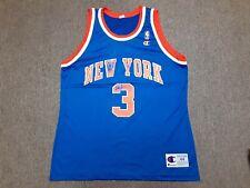 Vintage 90s Champion NBA New York Knicks #3 John Starks Jersey Shirt Blue 44