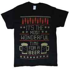 Mens Black Beer Time Fair Isle Christmas Holiday T-Shirt M
