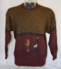 Vtg GANT 100% Wool Sweater Pheasant Hunting Made in Italy Mens Sz L Stunning!