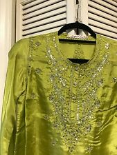 Margaret Loves Peter Lime Green Silk Mirror Tunic Made In India Approx Size 10