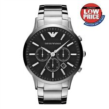 NEW GENUINE EMPORIO ARMANI AR2460 MENS STEEL BLACK DIAL CHRONOGRAPH MENS WATCH