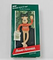 "Vtge Hallmark Flexible ""Rodney Reindeer"" Bendable Ornament 1989 NIB"