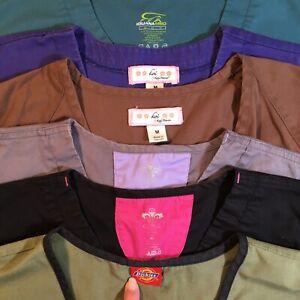 Lot Of 6 Women's Nursing Scrub Tops Size Medium Iguana Couture Dickies Koi