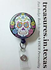 SUGAR SKULL White Face on Black with Flowers Retractable Reel ID Badge Holder