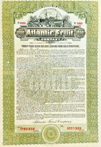 Atlantic Fruit Company 1912 Specimen $1,000 Hamilton Bank Note bond certificate