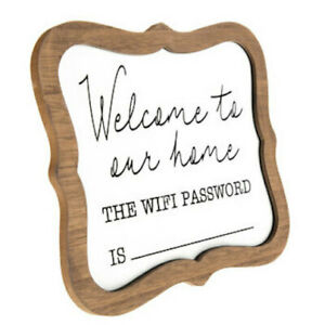 Welcome To Our Home WiFi Password Sign Whiteboard Desk or Table Wood Decor