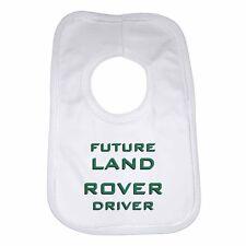 Future Land Rover Driver Personalised Soft Cotton Baby Bib Boys Girls - White