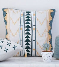 "New Luxurious Aztec Native American Gold + Teal Cushion Cover 24"" x 24"" 60x60 cm"