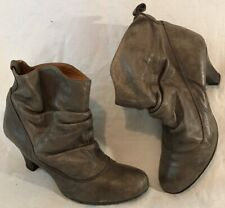 Topshop Grey Ankle Leather Boots Size 39 (184vv)