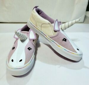 Vans Girls Asher V Purple Unicorn Shoes Slip-On Canvas Sneakers Size 2