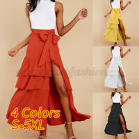 Women's Holiday Ruffle High Waist Wrap Dress Tiered Flare Swing Long Skirt Dress