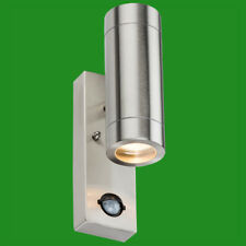 2x PIR Stainless Steel Up & Down Outdoor IP44 Motion Sensor Security Wall Light