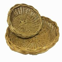 Rattan Open Basket Serving Tray Round Woven Platter Handmade Wicker Plate 2pcs
