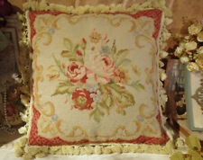 Vtg. Antique Reproduction Rose Aubusson Design Needlepoint Throw Pillow 18""